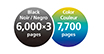 Print up to 6,000 sharp black text pages / 7,700 vivid color pages per ink bottle set.
